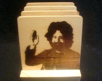 Jerry Garcia Coasters, Burned Image -If Desired Mix and Match 4 different designs       See Gomez Carvings Shop and add a note