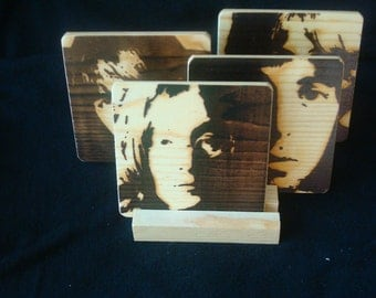 Beatles (4 Faces) Coasters,Burned Image -If Desired Mix and Match 4 different designs       See Gomez Carvings Shop and add a note