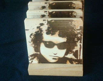 Bob Dylan Coasters,Burned Image -If Desired Mix and Match 4 different designs       See Gomez Carvings Shop and add a note