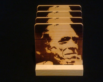 Charles Bukowski Coasters,Burned Image -If Desired Mix and Match 4 different designs       See Gomez Carvings Shop and add a note