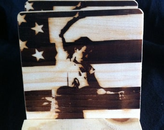 Bruce Springsteen Coasters - Burned Image -If Desired Mix and Match 4 different designs       See Gomez Carvings Shop and add a note