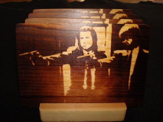 Pulp Fiction Coasters, Pop Art, Branded - Solid Pine Wood