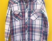 MONTEREY Soft Worn In Wrangler Flannel Snap Shirt Cool Colors