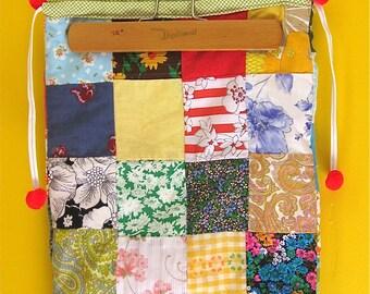 Vintage Bag, Patchwork Purse, VIntage 70s, Drawstring Bag, Hobo Bag, Vintage Handmade Purse, Vintage Patchwork