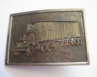 Vintage Brass Belt Buckle 70s Trucker Big Rig 1970s Rocker Cowboy