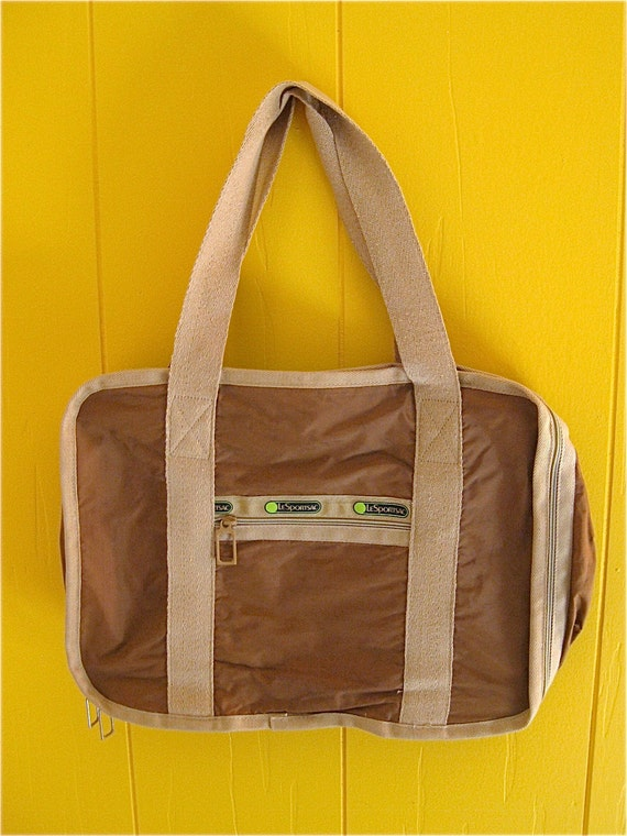 Brown and Tan Le Sportsac Overnight Laptop Briefcase You Decide Awesome Bag