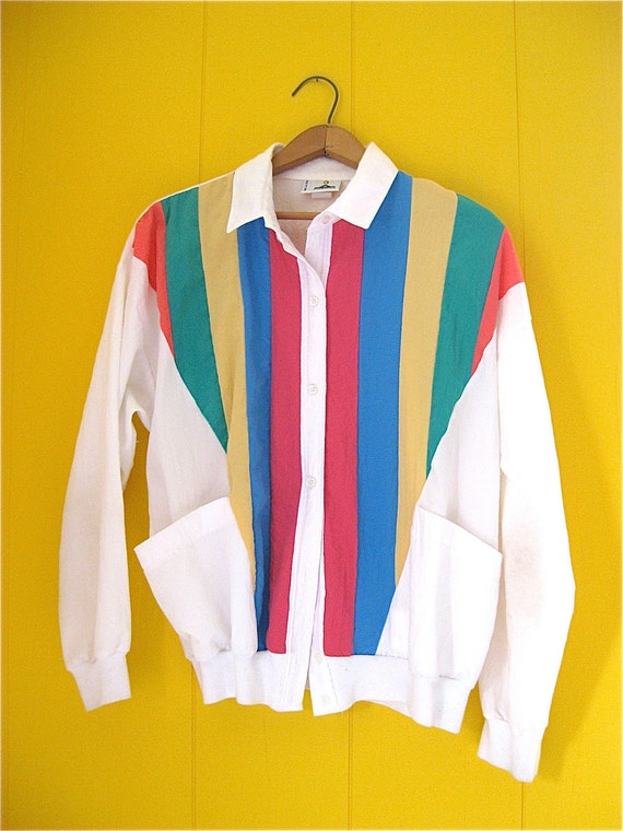 Rainbow Striped Polyester Cardigan Windbreaker Vintage with Pockets