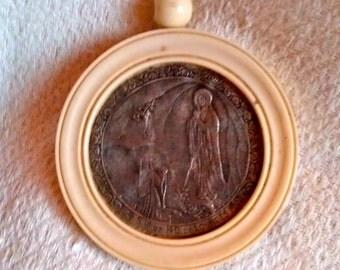 Notre Dame de Lourdes Silver ivory medaillon