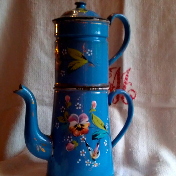 French Enameled Coffee Pot Cafetiere Emaillee