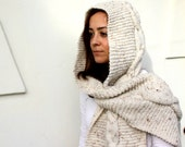 Long Beige Hooded Handknit Scarf