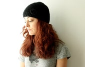 Black Beanie Hat hand crocheted  with small flower Gifts Under 25
