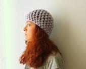 Light Purple Lilac acrylic hand crocheted Beanie Hat Handmade Gifts Under 35