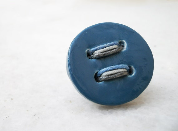 medium blue button ring - from the unbutton collection of joo - adjustable