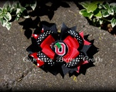 Beautiful medium Ohio State inspired  Buckeyes Boutique style hair bow clip Buckeye girl