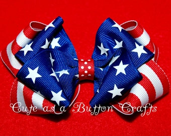 4th of July Hair Bow, Patriotic Red White and Blue Hair Bow,  Stars and Stripes Patriotic Hair Bow