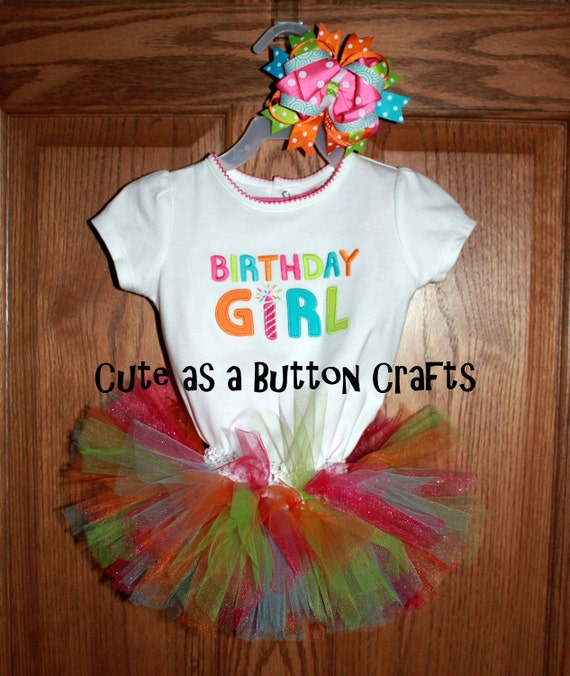 Baby's First Birthday tutu outfit with matching bow and free  12 month shirt