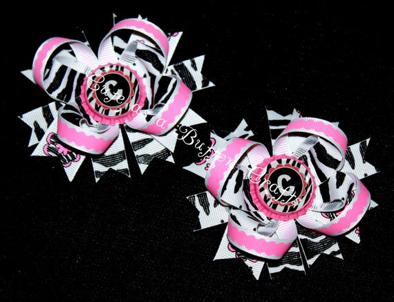 set of Two small piggie bows boutique monogrammed zebra print hair bows perfect for summer Wild about Pink
