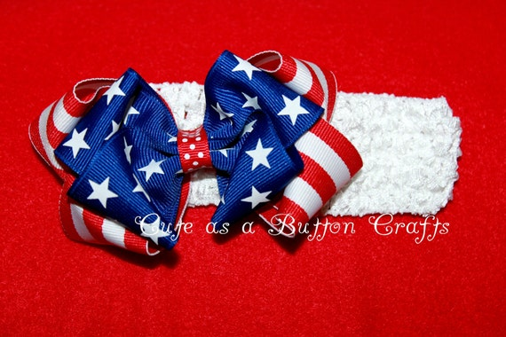 Patriotic Hair Bow - Stars and Stripes Hair Bow with Crochet Headband Baby's First 4th of July