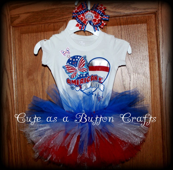 Adorable Patriotic Babys first fourth of July outfit with Coordinating boutique Bow 6-9 months 12 months 24 months