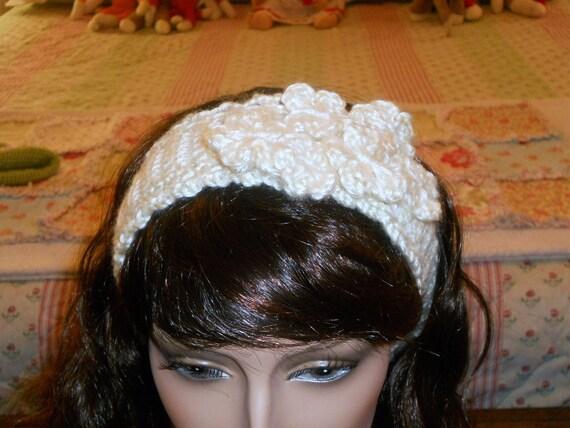 Crochet Floral Ivory Headband Earwarmer Ski Band