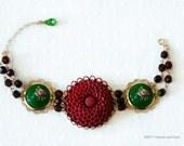 """Flower Bracelet, Green, Burgundy  """"Marigold forever yours"""""""