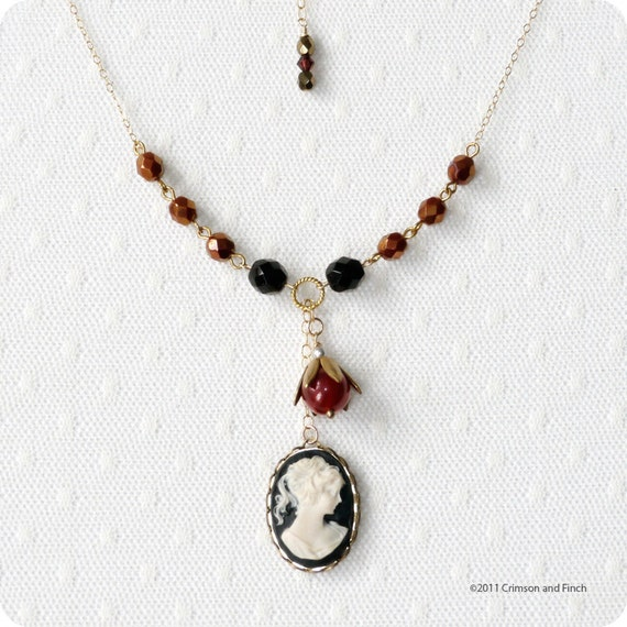 """Black Cameo Charm Necklace  """"Lady In Black"""""""