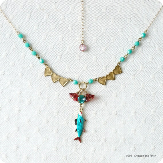 """Charm necklace """"more fish in the sea"""""""
