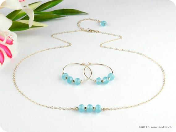 """14kt GF Blue Quartz  Necklace / Earring Set.  """"Mitzi Blue"""""""