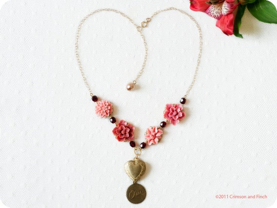 """Pink Flower, Charm Necklace  """"Say Oui To Love"""" Necklace"""