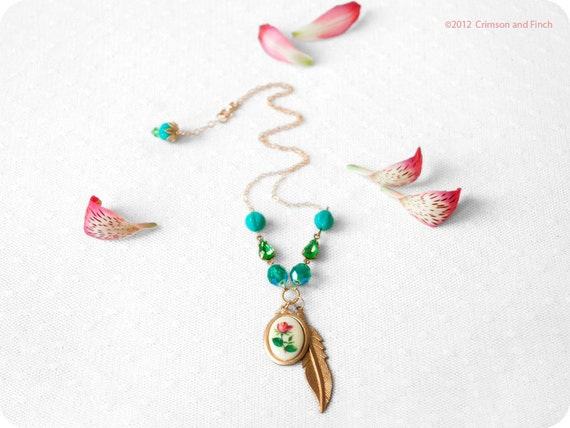 "Turquoise,Green, Charm Necklace  ""Feather Rose"""
