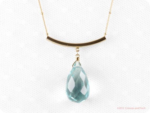 """Gold Filled //  Blue Quartz  Drop Briolette Necklace //  """"Le grand Bleu""""  //"""