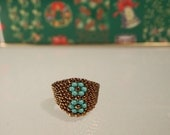Beaded Ring Turquoise Flowers and Bronze