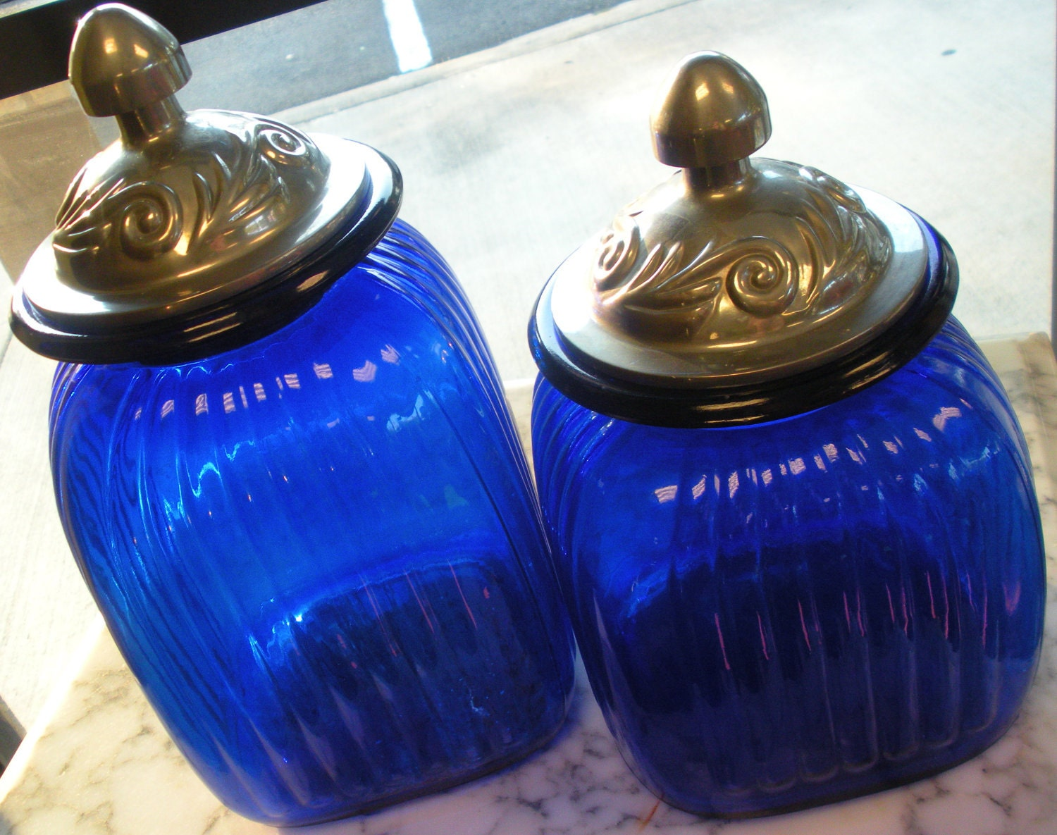 Cobalt blue canisters artland by vintagevaultaustin on etsy - Blue glass kitchen canisters ...
