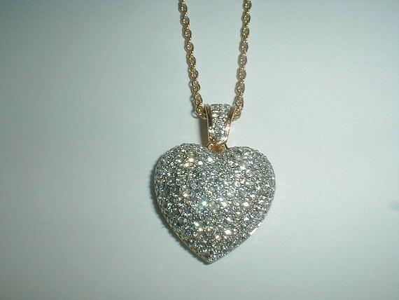 Vintage Signed Swarovski Swan Pave Crystal Puffed Heart