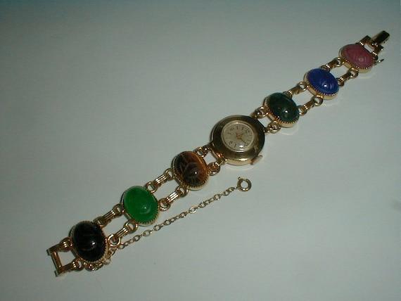 vintage coro scarab bracelet wrist watch