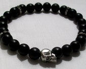 Handmade Mens Black Onyx Silver Skull Bracelet with Black Crystal Accents