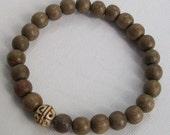 Philippine Graywood and Tibetan Bone Bead Mens Stretch Bracelet