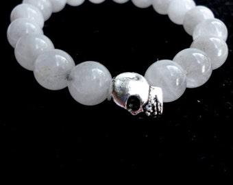 White Jade Unisex Skull Bracelet