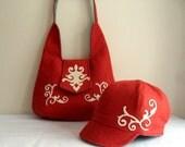 SALE SALE Damask, Felt,  Shoulder Bag, Purse, Novelty (With Hat), Red-White-Gray