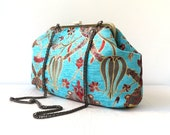 Tulip - Metal Frame Purse, Messenger, Handbag, Turquoise Velvet-Chenille, Red, Maroon, Soil-Brown  Color Jacquard Design