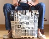Custom Listing For Dee - Newspaper Tote Bag - Printed Fabric - Black&White, Daily, Weekly, School Bag, Diaper Bag, Book or Magazine Tote Bag