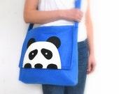 Panda-Felt Messenger Bag, Royal Blue black white