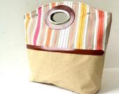 Canvas Cotton Leather Handbag, Beach Bag, Plain Canvas and Striped Cotton, Beige, Yellow, Orange, Pink, Large Tote...