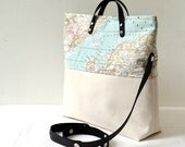 World Map Printed Cotton Fabric and Canvas Cross Body, Messenger, Tote, Handbag -  Beach, School, Diaper Bag, Book or Magazine Tote
