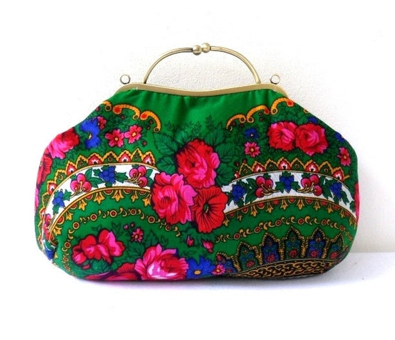 Gipsy - Colorful Flowers, Cotton and Felt, Metal Frame Purse (Large)