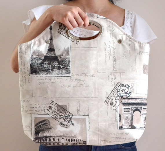 Postcard Printed Fabric, Metal Purse Handle, Handbag