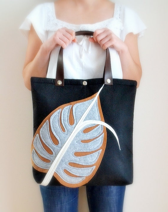 Monstera Tote Bag-Black,White,Tan-Leather Straps-For Daily,Weekly,Diaper,Book/Magazine Tote, Shoulder Bag