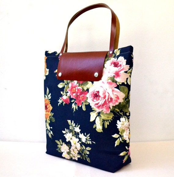 Navy Canvas Flowers Printed - Rusty Leather Cover and Straps - Daily, Weekly, School Bag, Diaper Bag, Book or Magazine Tote Bag