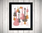 Modern Guitars Nursery Wall Art - Pink/Orange/Grey - 11x14 Mounted Print