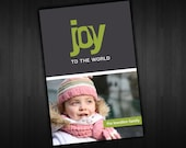 Modern Photo Christmas Holiday Card - DIGITAL - Joy to the World Design